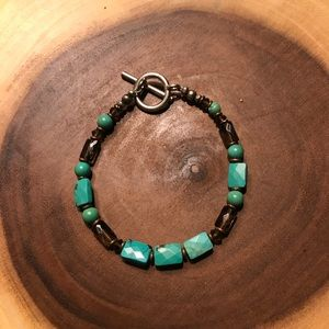 Jewelry - Vintage turquoise and smoky topaz bracelet